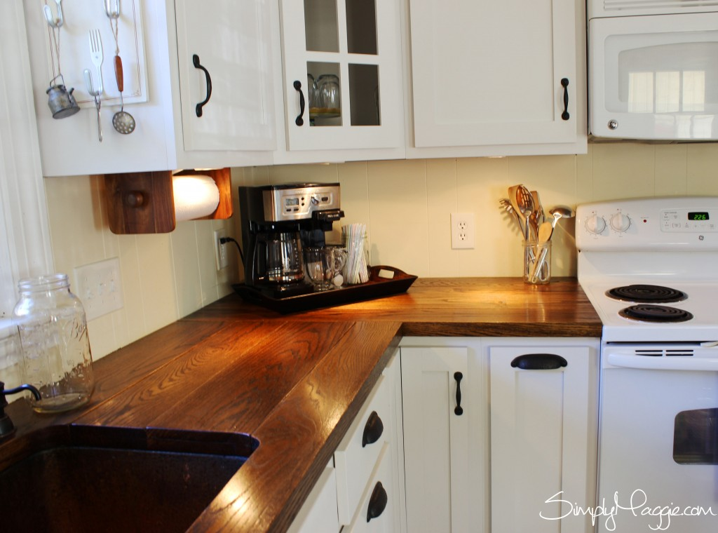 Under Cabinet Lighting, DIY Wide Plank Butcher Block Countertops  Www.SimplyMaggie.com