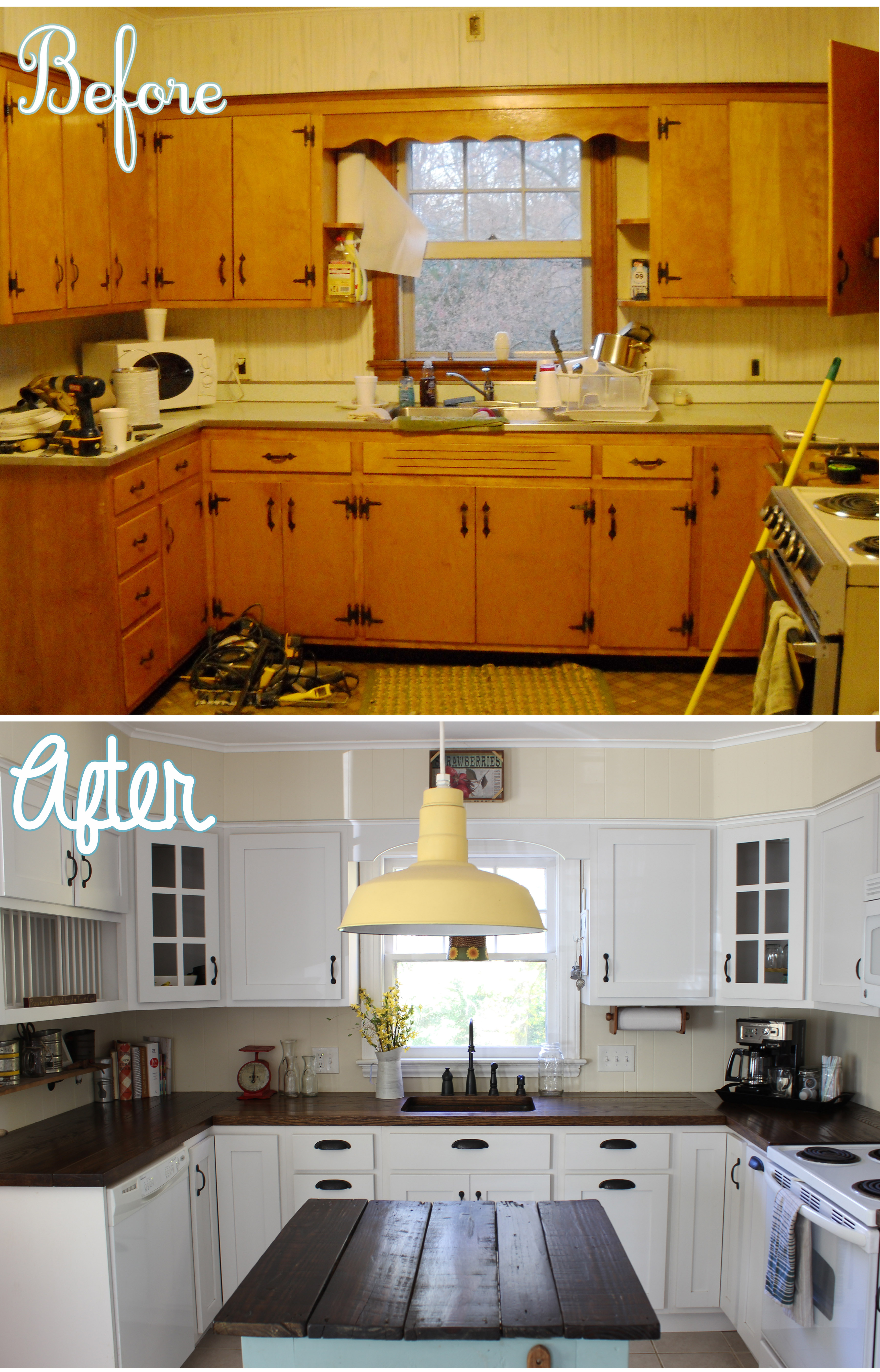 Country kitchen renovation for Kitchen cupboard makeover before and after