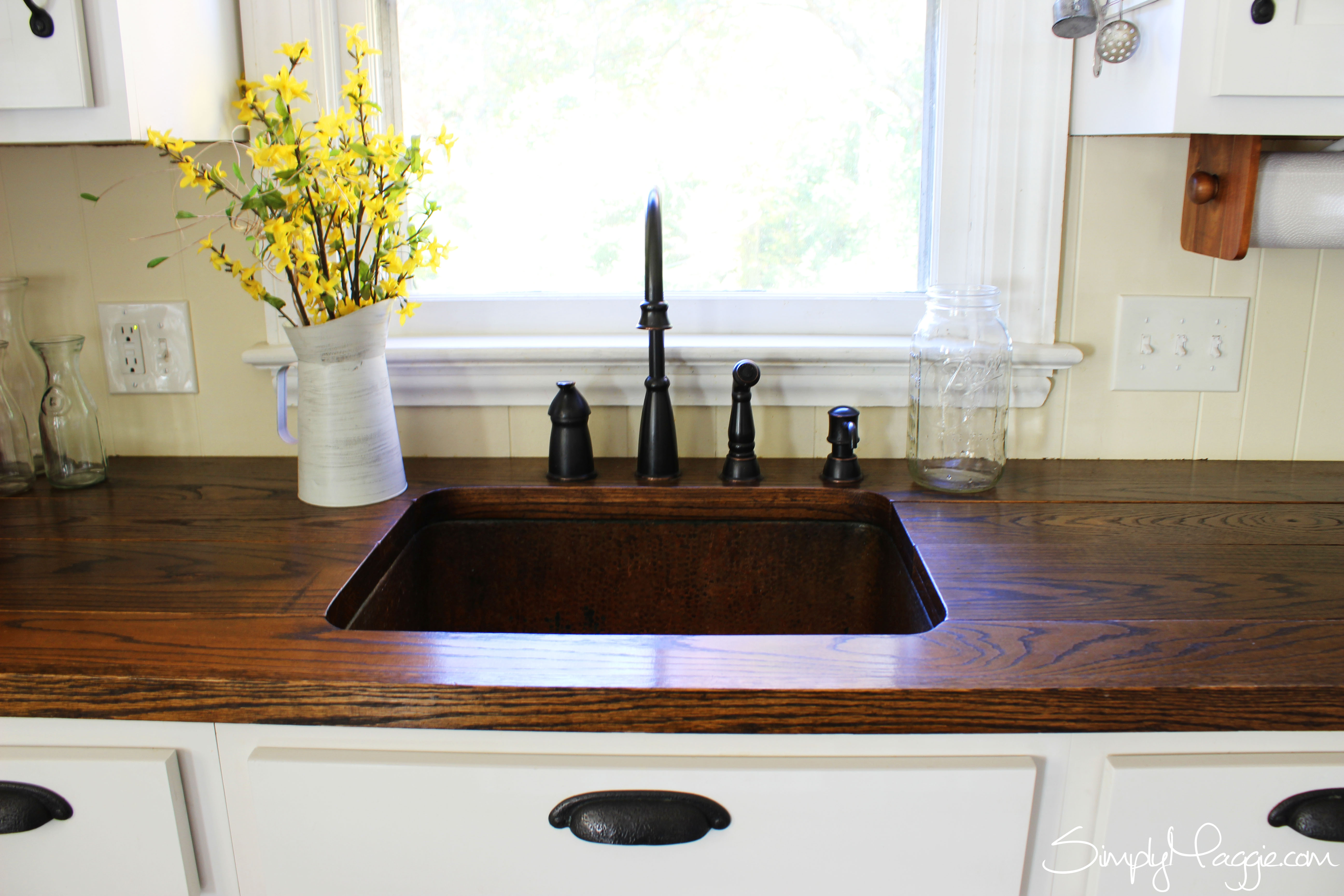 diy wood plank countertops diy wide plank butcher block counter tops simplymaggie 291