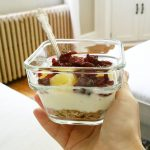 Muesli low fat plain yogurt craisins and pineapple One ofhellip