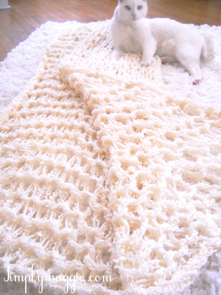 Knitting A Blanket With Arms : How to arm knit a blanket in one hour simplymaggie