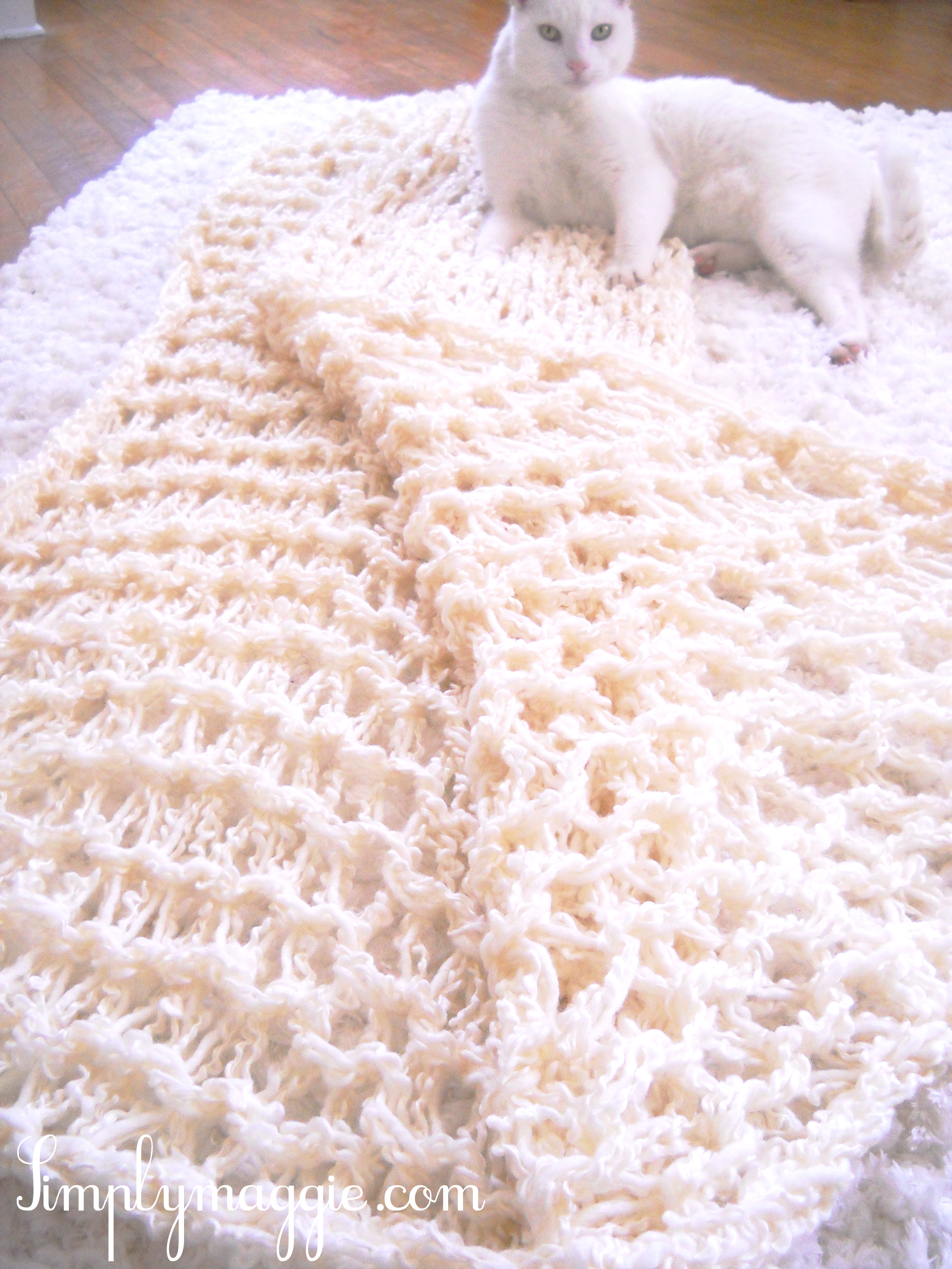 How To - Arm Knit a Blanket in One Hour SimplyMaggie.com