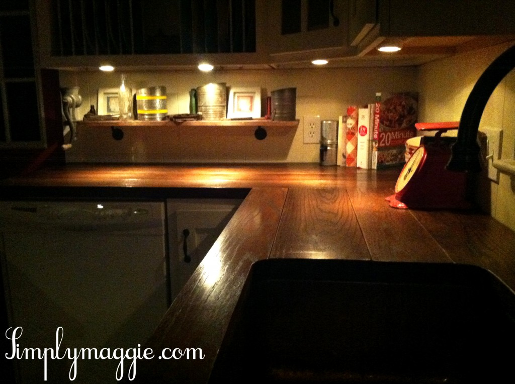 DIY Wide Plank Butcher Block Counter Tops SimplyMaggiecom - Island counter lighting