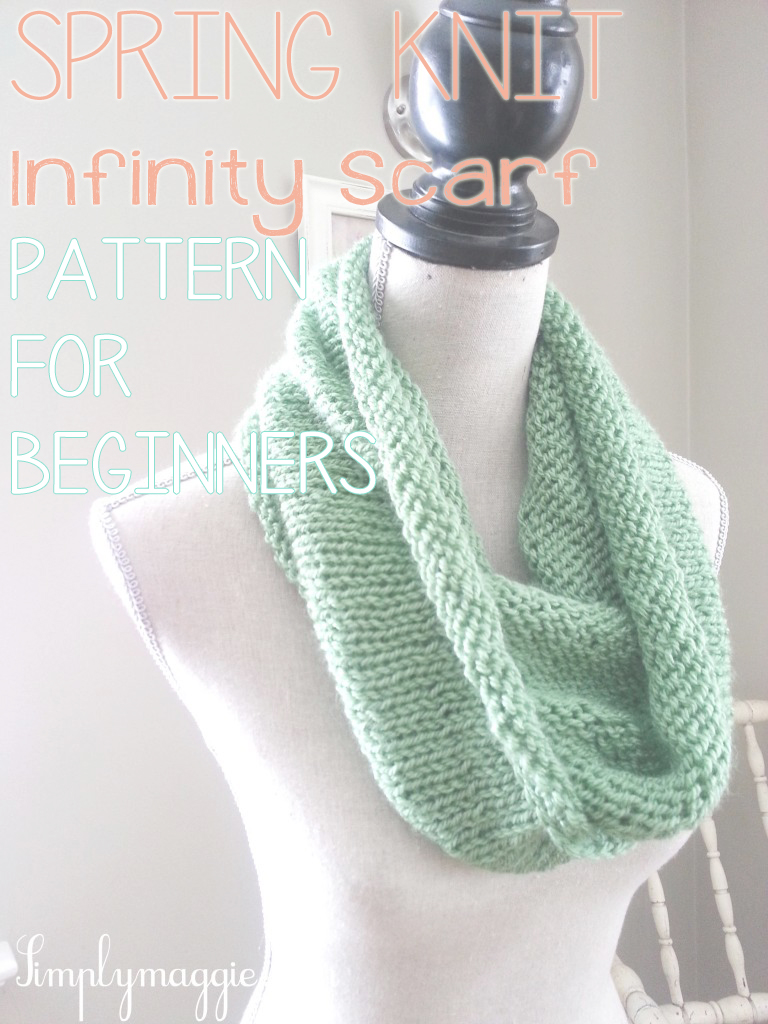Crocheting Infinity Scarf For Beginners : Spring Knit Infinity Scarf with Pattern for Beginners
