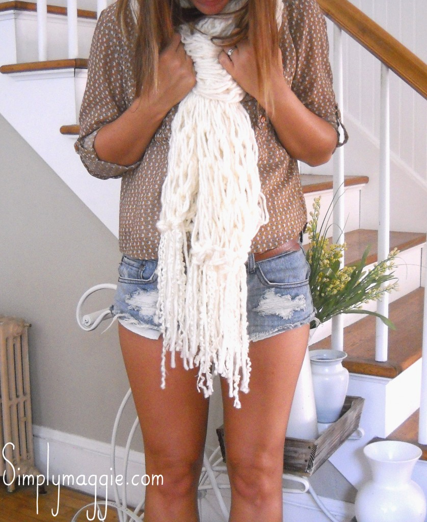 How to Arm Knit a Fringe Scarf copy