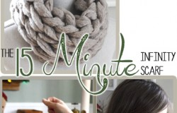 How to Arm Knit an infinity scarf in 15 Minutes wih Simply Maggie. www.SimplyMaggie.com