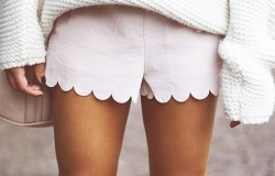 Scalloped Shorts and Oversized Sweater