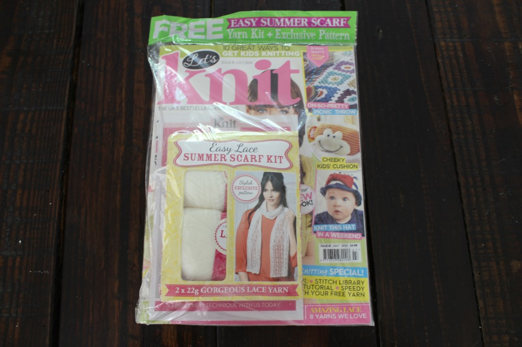 Here is what you get in the mail every month. The magazine and a yarn kit including a pattern and yarn. This is the July issue.
