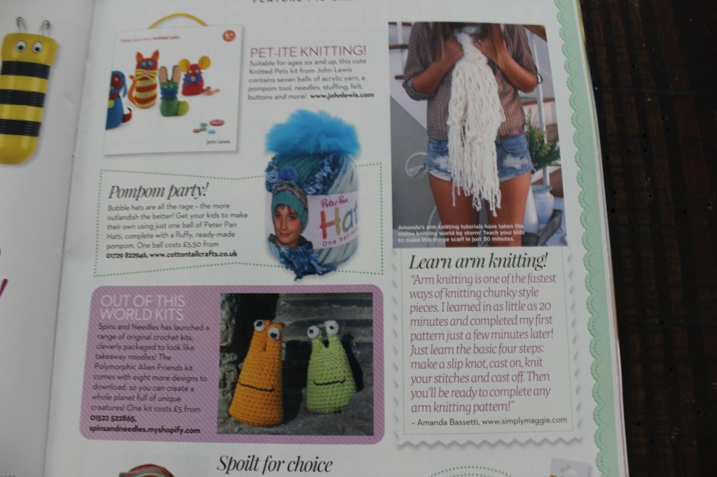 They featured my Arm Knit Fringe Pattern and added my quote, website and my name.