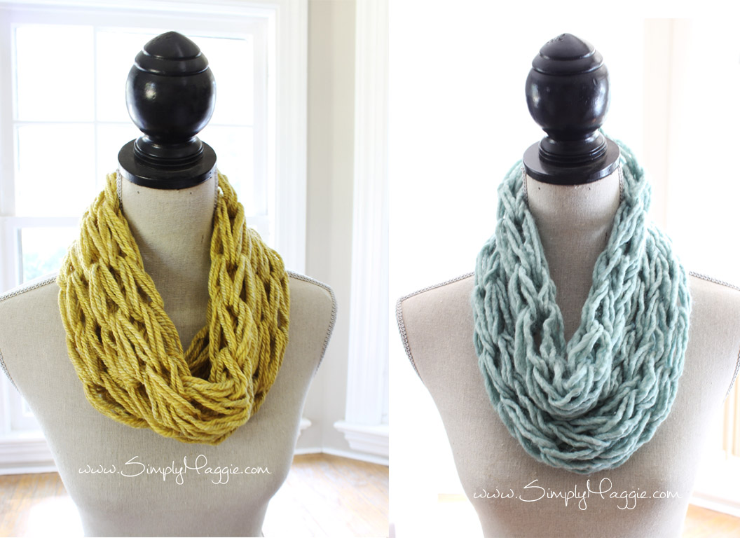 How to arm knit a single wrap infinity scarf in 20 minutes with Simply Maggie. www.SimplyMaggie.com