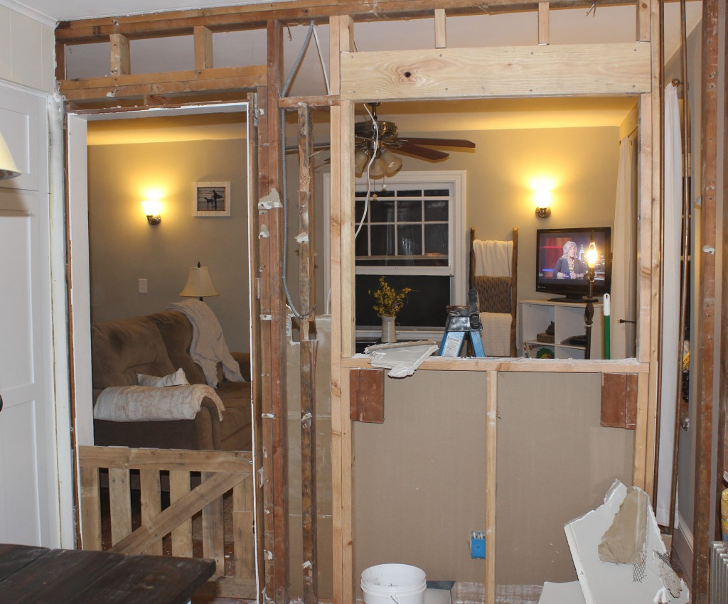 Kitchen Wall Demolition Before and After www.simplymaggie.com #Reclaimedwood #Countryhome #openkitchen
