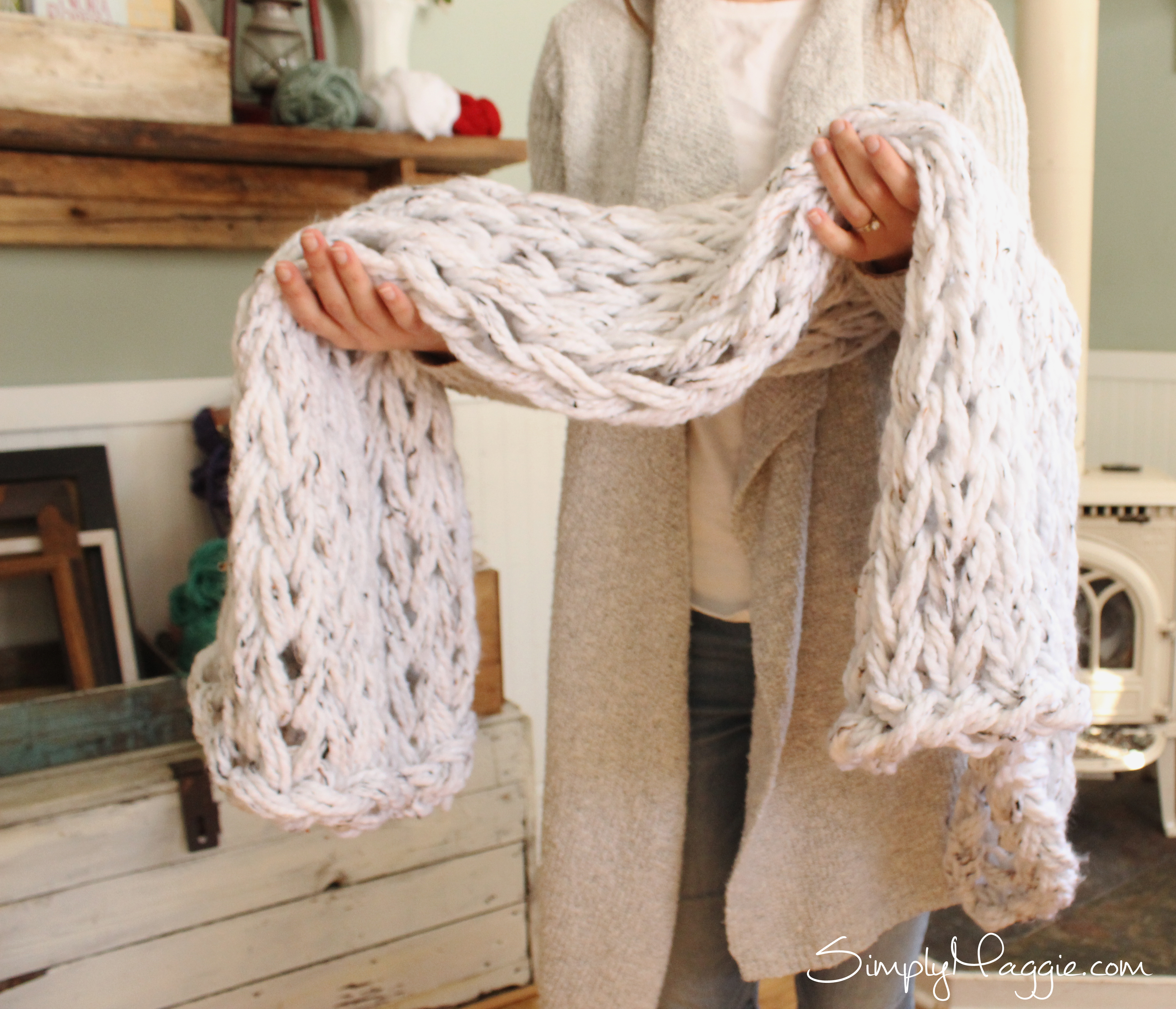 Hand Knit Blanket Chunky Diy
