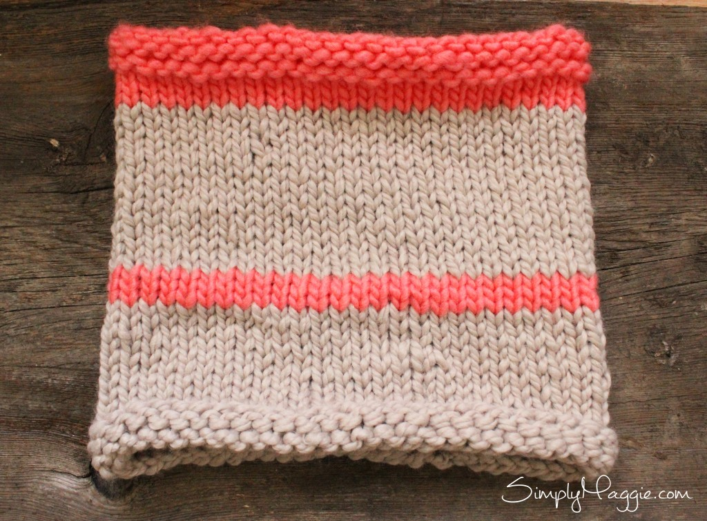 Pink and Linen Striped Cowl Pattern by Simply Maggie
