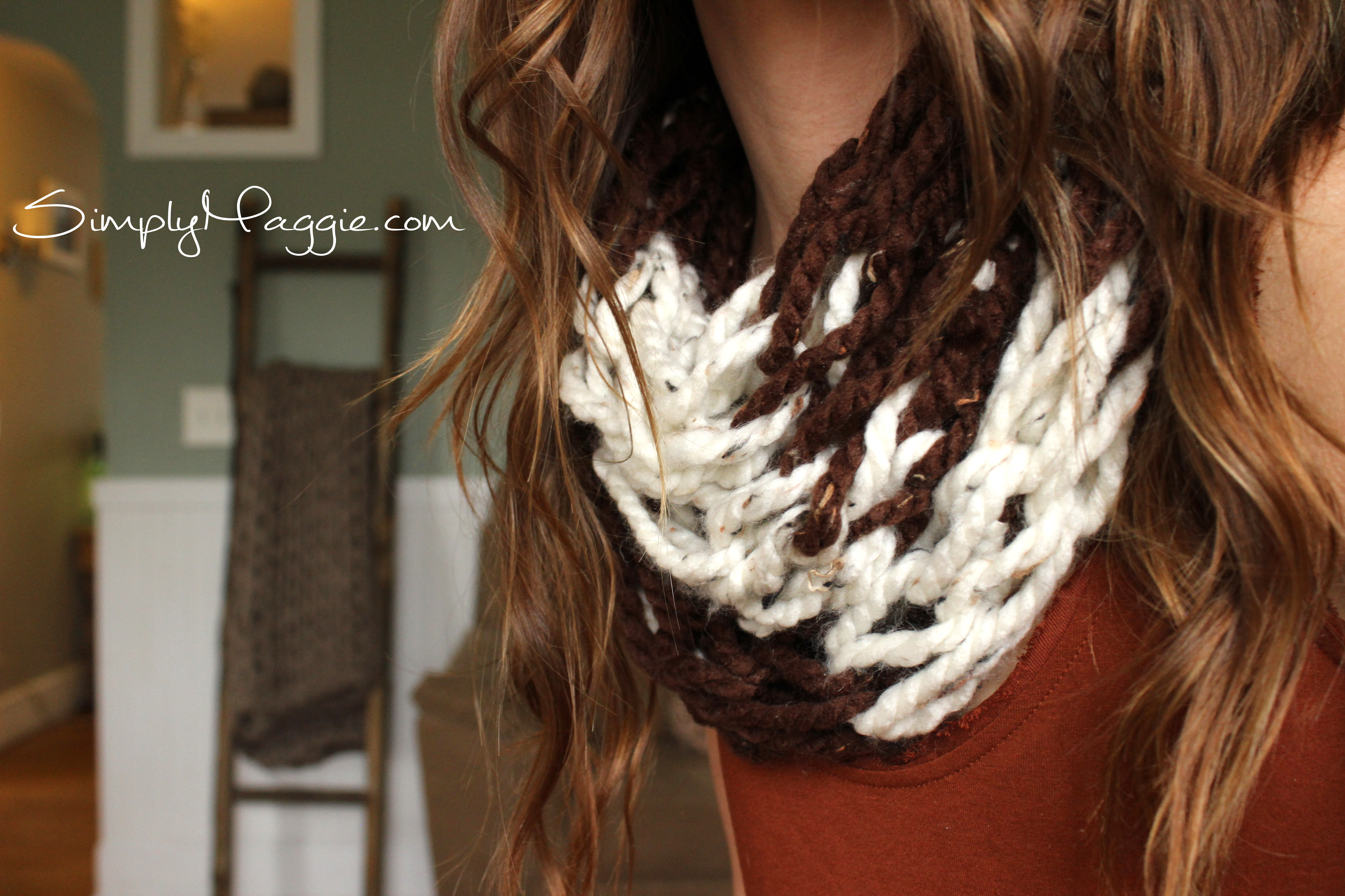Striped Infinity Scarf Knitting Pattern : Knit Egg Collecting Apron SimplyMaggie.com