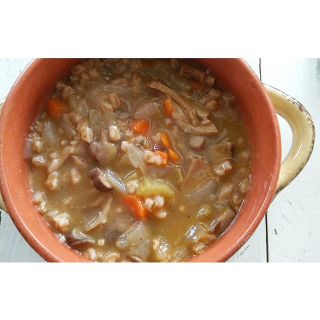 Vegan Wild Mushroom and Farro Soup - SimplyMaggie.com