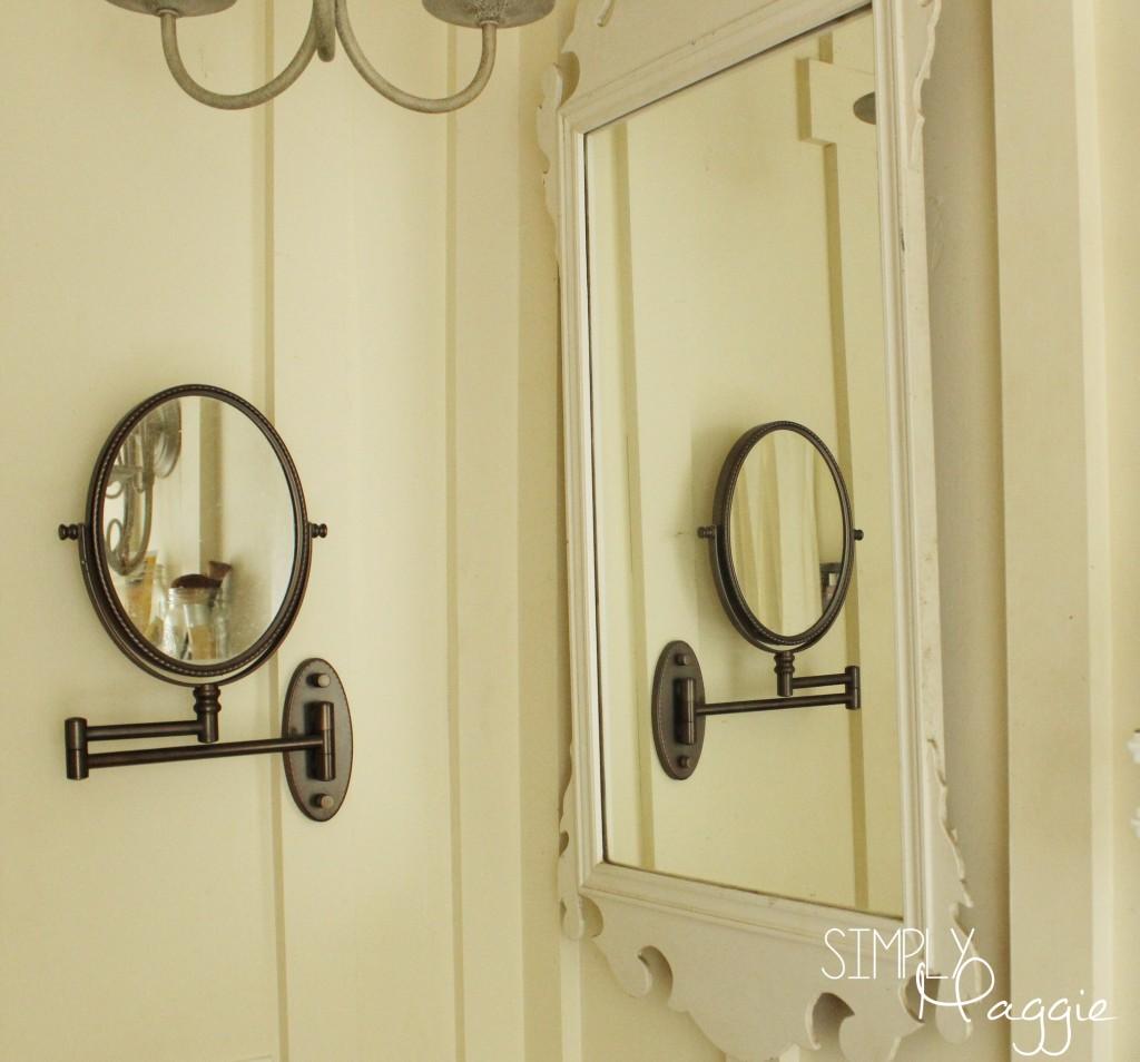 Antique mirror in a cottage bathroom   SimplyMaggie.com