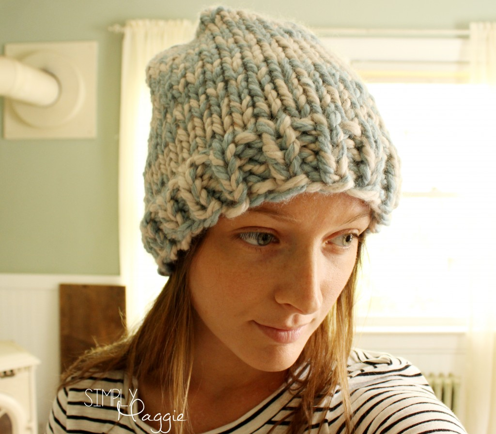 Free Knitting Pattern Hat 10mm Needles : Basic Knit Beanie SimplyMaggie.com