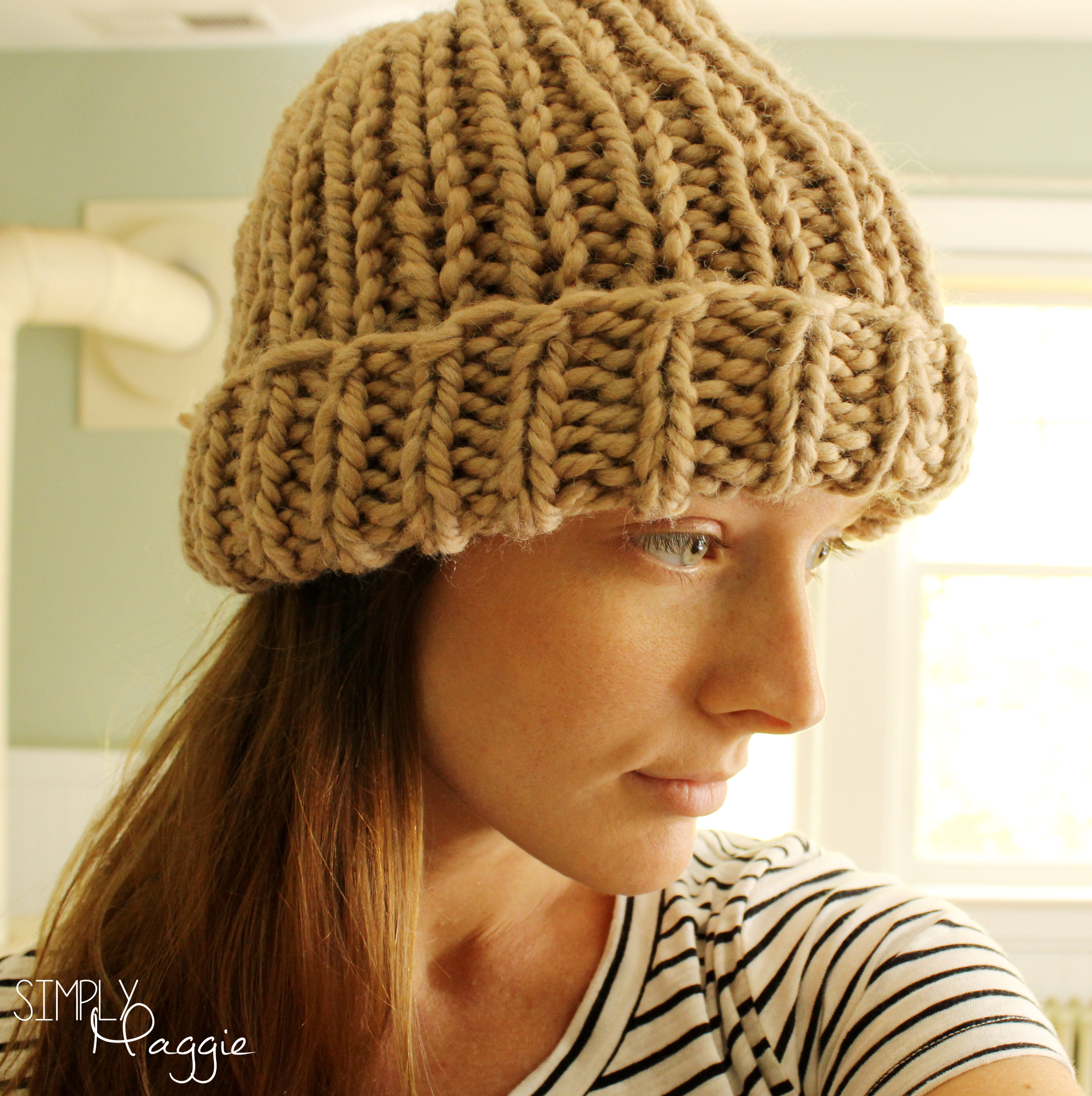 Slouchy knit purl hat simplymaggie tan hat 3 copy bankloansurffo Images