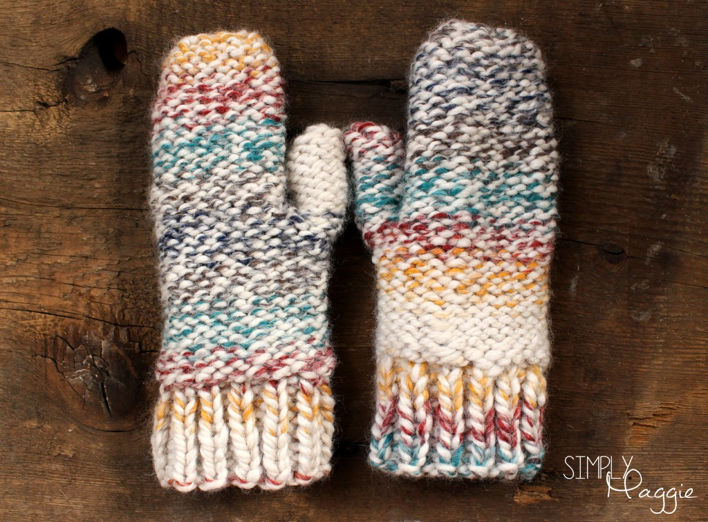 Knitting Pattern For Chunky Wool Mittens : Chunky Mittens Pattern - One Skein Project SimplyMaggie.com