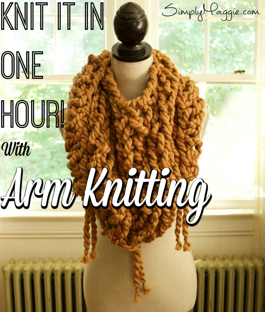 Arm Knit Triangle Scarf with Fringe | SimplyMaggie com