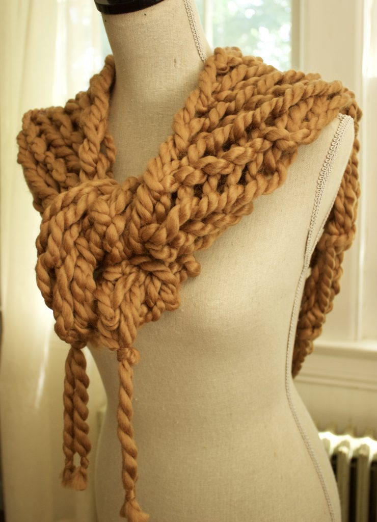 Arm Knit Triangle Scarf With Fringe Simplymaggie Com