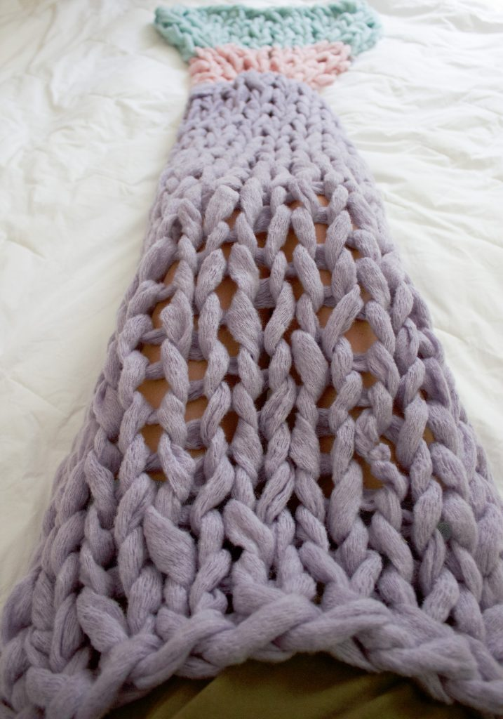 Arm Knit Mermaid blanket Free Pattern SimplyMaggie.com