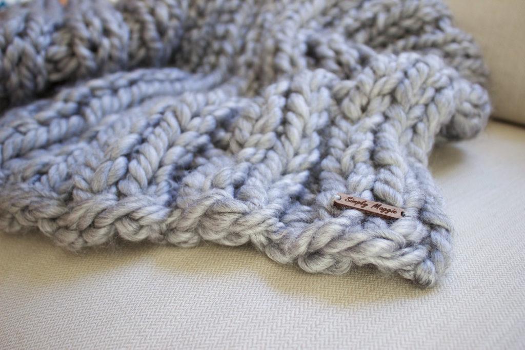 Chunky Yarn Knit Blanket Pattern : Chunky Rib Stitch Knit Blanket Pattern SimplyMaggie.com