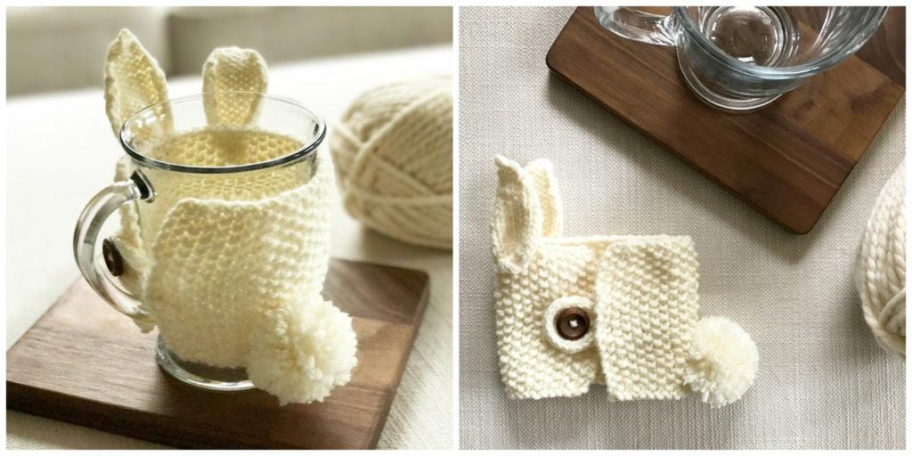 Knit Bunny Mug Cozy Pattern | SimplyMaggie.com
